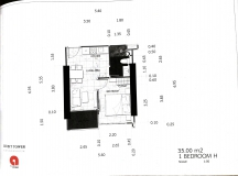 Dusit Grand Tower - 1 bedroom apartment plans - 5
