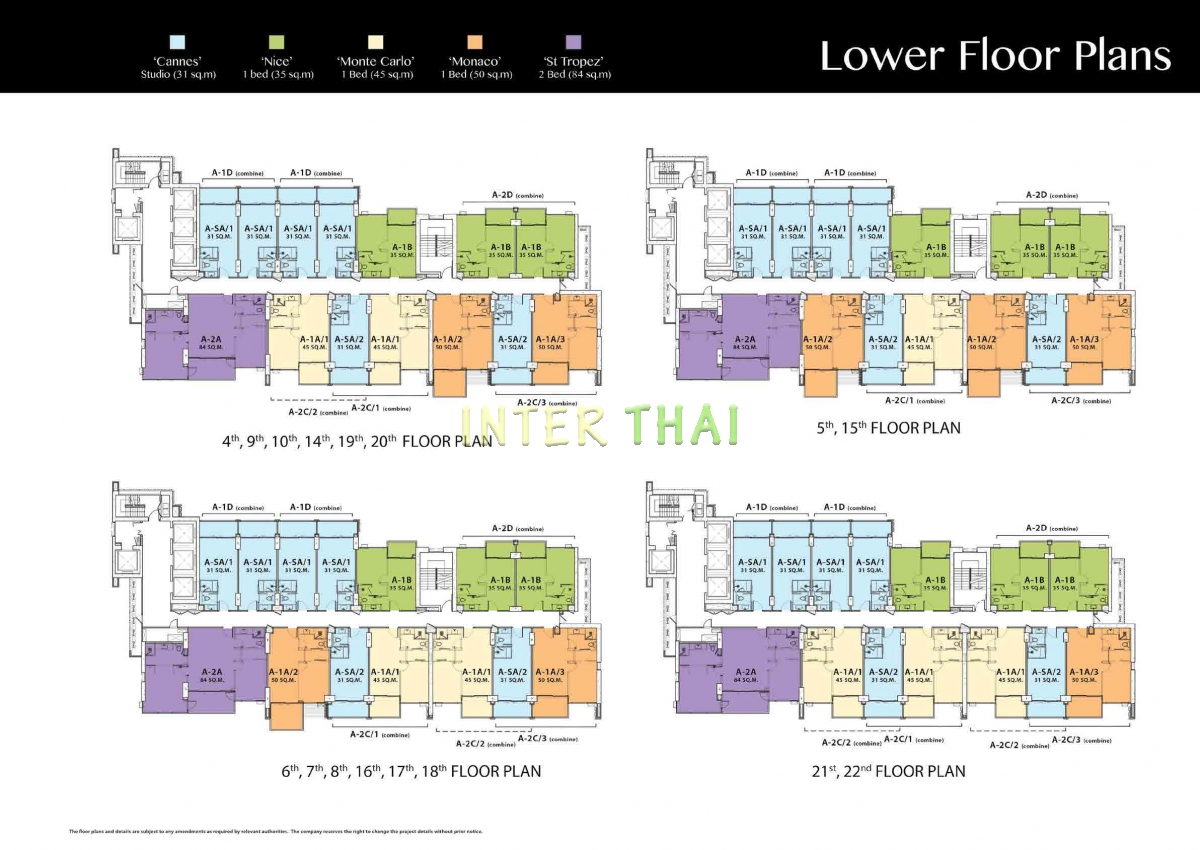 Riviera wongamat beach floor plans south tower 17 for Floor plans for 160 000