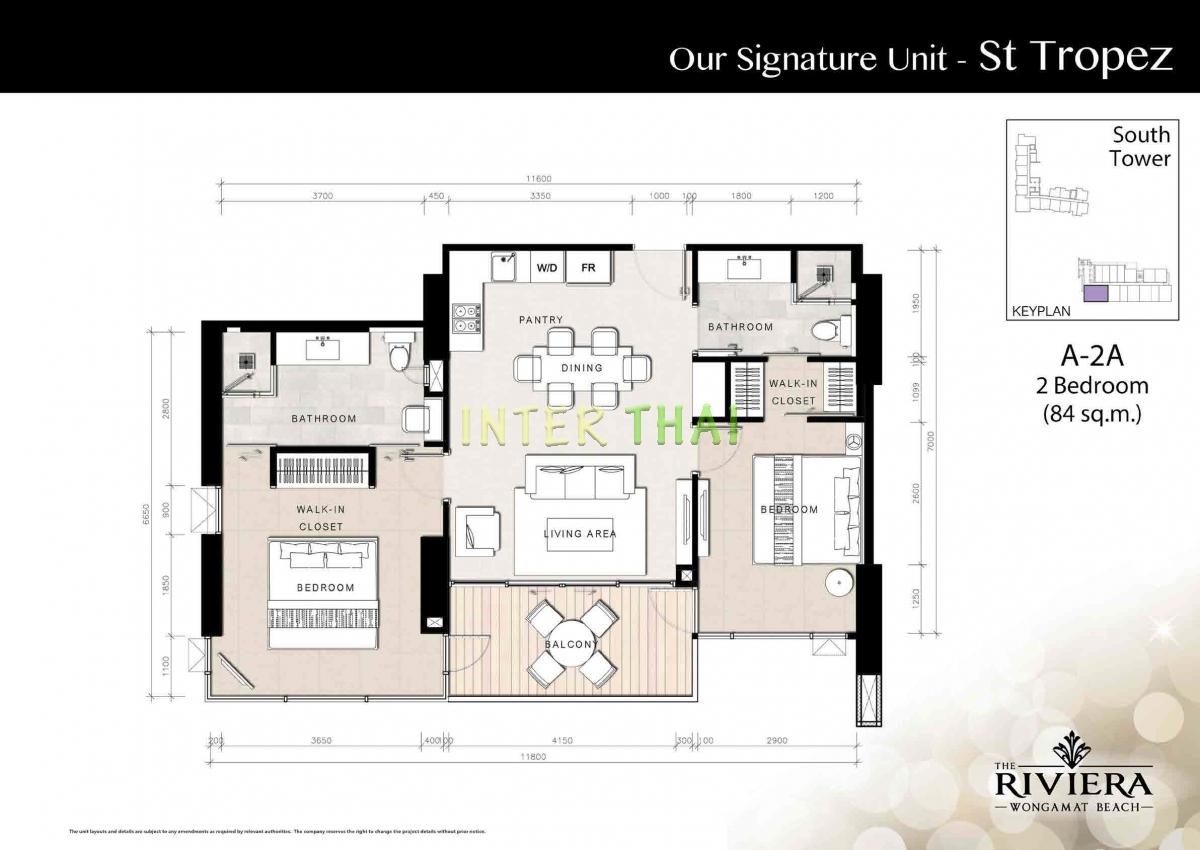 เดอะ ริเวียร่า วงศ์อมาตย์ บีช อมาตย์ - แปลนห้อง - South Tower - 17