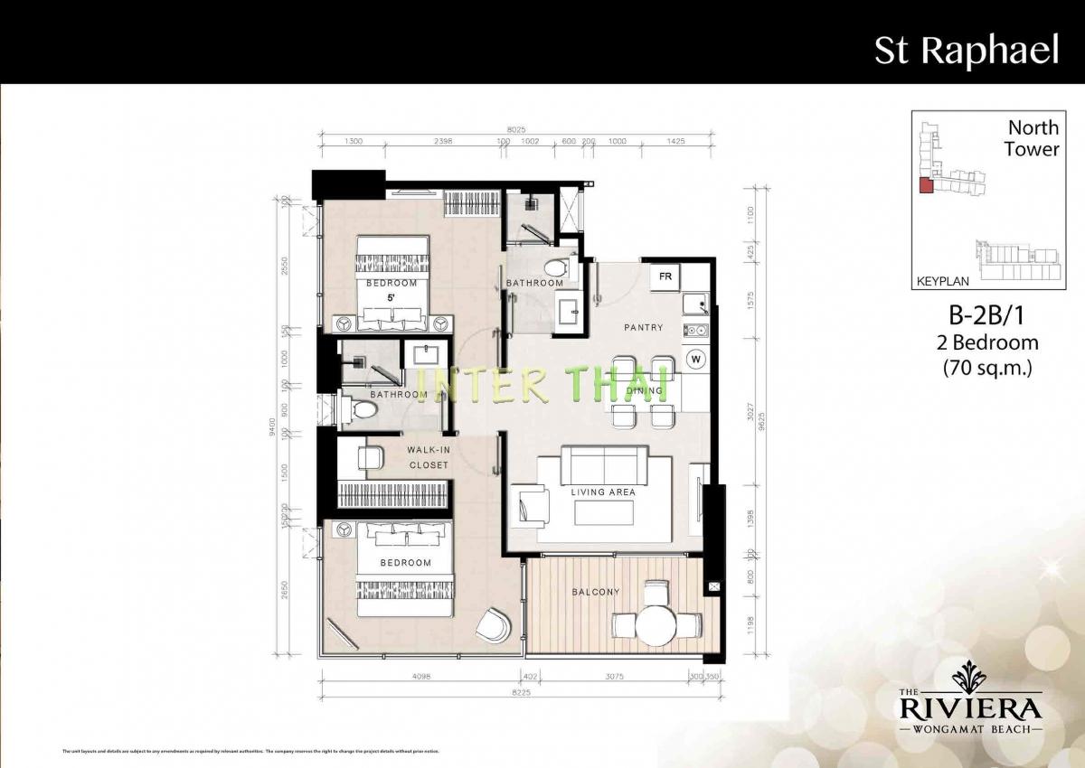 เดอะ ริเวียร่า วงศ์อมาตย์ บีช อมาตย์ - แปลนห้อง - North Tower - 17
