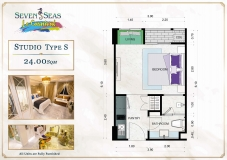 Seven Seas Le Carnival Pattaya - studio plans - 1