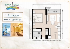 Seven Seas Le Carnival Pattaya - 1 bedroom apartment plans - 2