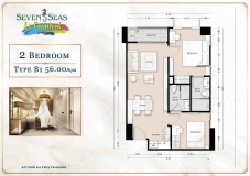 Seven Seas Le Carnival Pattaya - 2 bedrooms apartment plans - 1