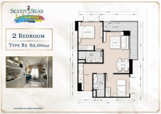 Seven Seas Le Carnival Pattaya - 2 bedrooms apartment plans - 2